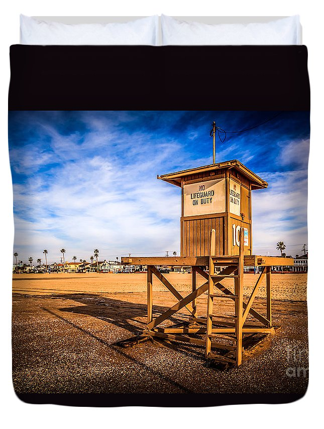 10 Duvet Cover featuring the photograph Newport Beach Lifeguard Tower 10 Hdr Photo by Paul Velgos