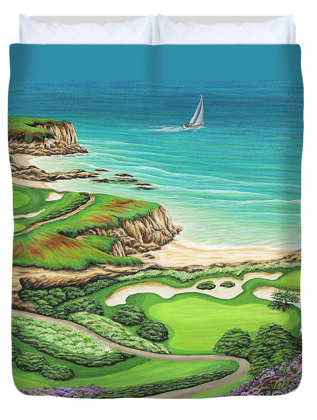 Ocean Duvet Cover featuring the painting Newport Coast by Jane Girardot
