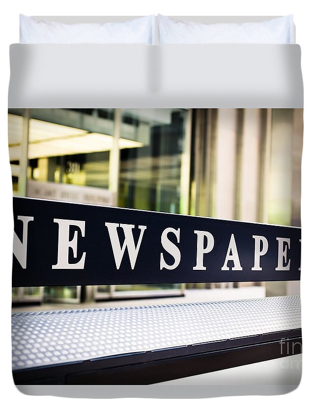 Chicago Duvet Cover featuring the photograph Newspapers Stand Sign In Chicago by Paul Velgos