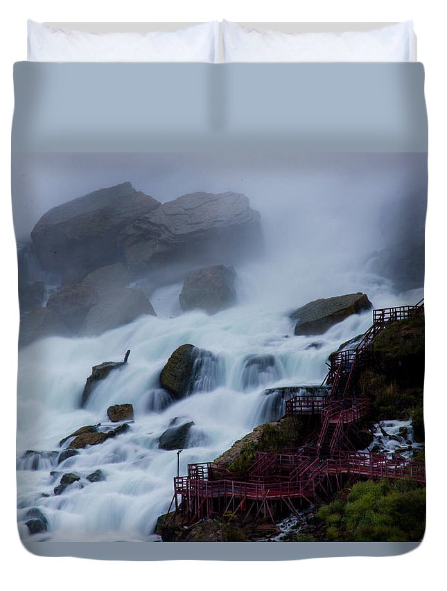 Niagara Falls Duvet Cover featuring the photograph Niagara Falls At A Different Point Of View by Kaye Seaboch