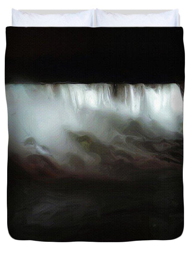 Niagara Falls Duvet Cover featuring the painting Niagara Falls By Night by Inspirowl Design