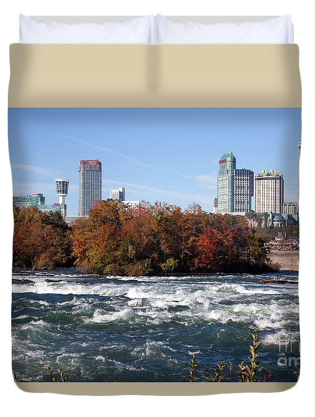 New York Duvet Cover featuring the photograph Niagara Falls Skyline From New York by Bill Cobb