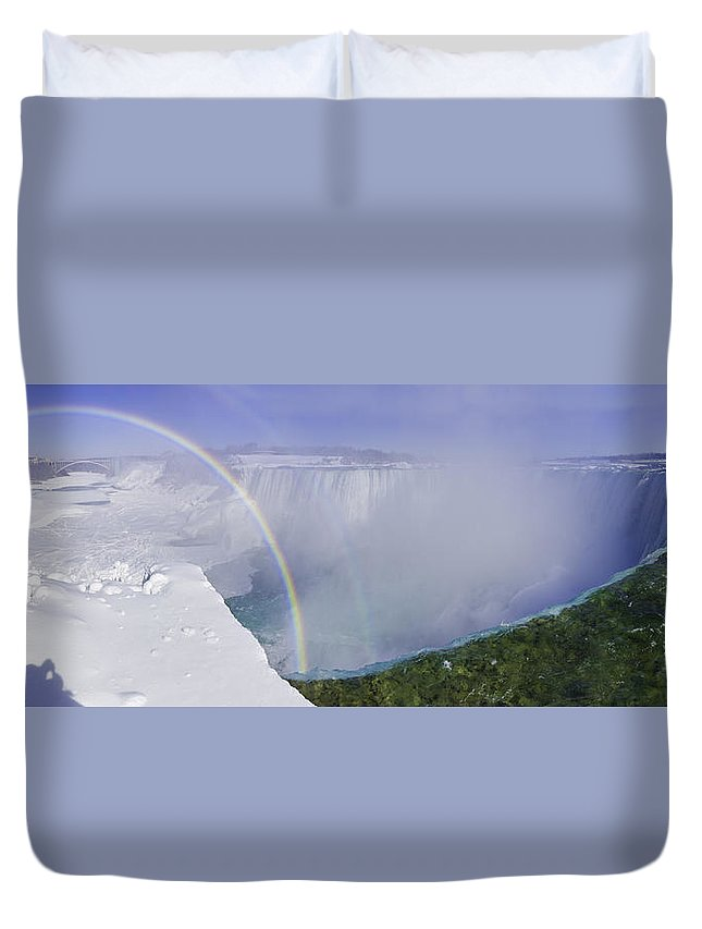 Ice Duvet Cover featuring the photograph Niagara Falls With Winter Rainbow by Peter v Quenter
