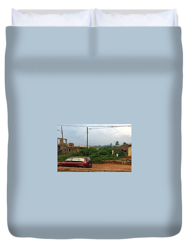 Mountains Duvet Cover featuring the photograph Nigerian Mountains In The Distance by Amy Hosp