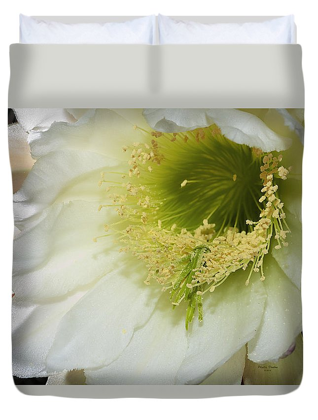 Flower Duvet Cover featuring the photograph Night Blooming Cereus Cactus by Phyllis Denton