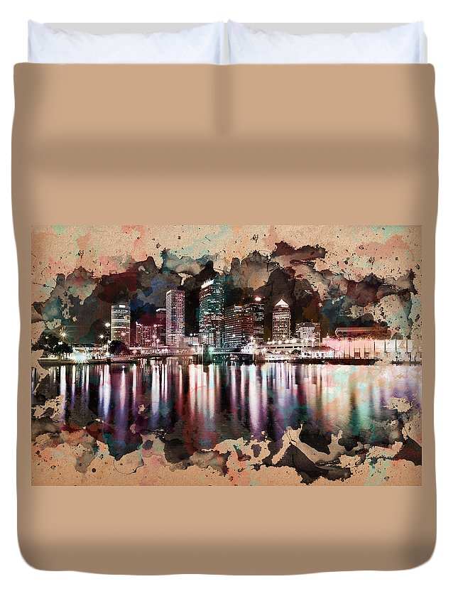 City At Night Duvet Cover featuring the painting Night City Reflections Watercolor Painting by Georgeta Blanaru