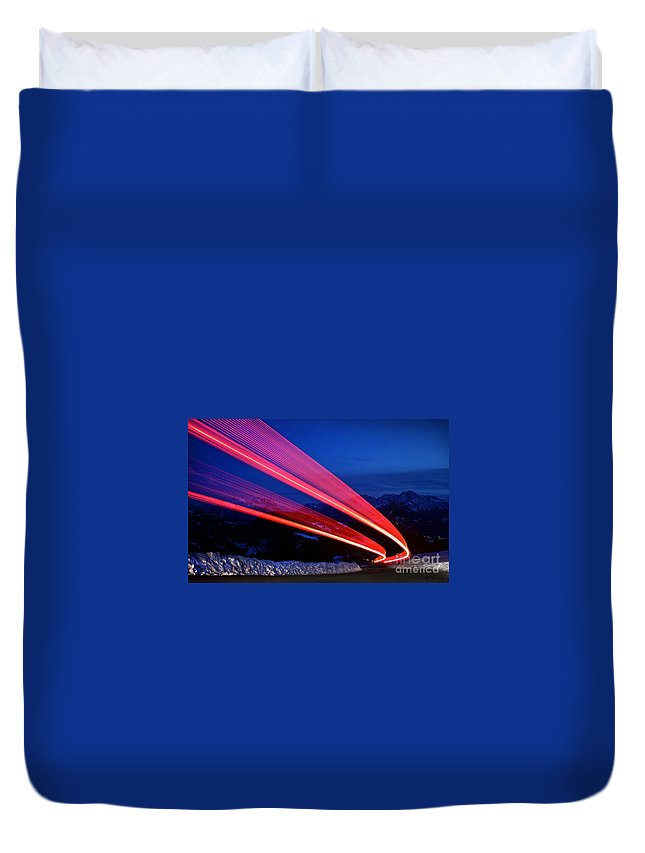 Abstract Duvet Cover featuring the photograph Night Driving by JR Photography