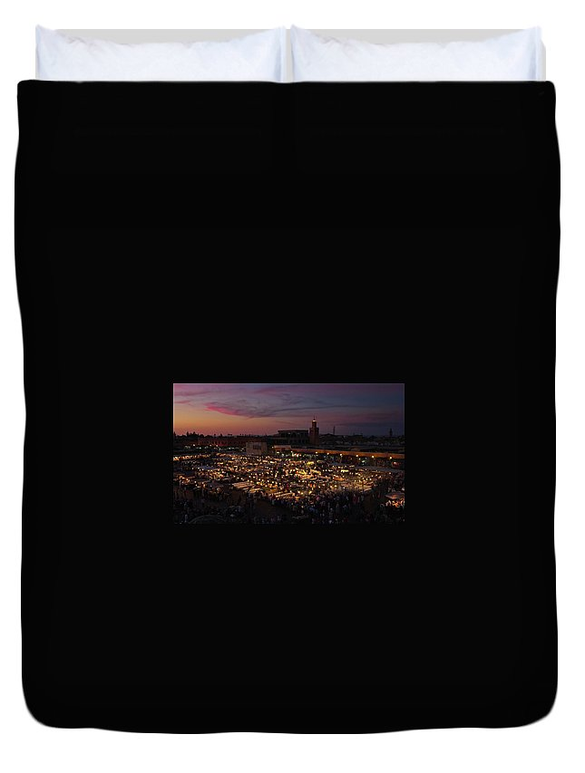 Crowd Duvet Cover featuring the photograph Night Falls Across Djemma El Fna by Always Looking For A Good Angle!