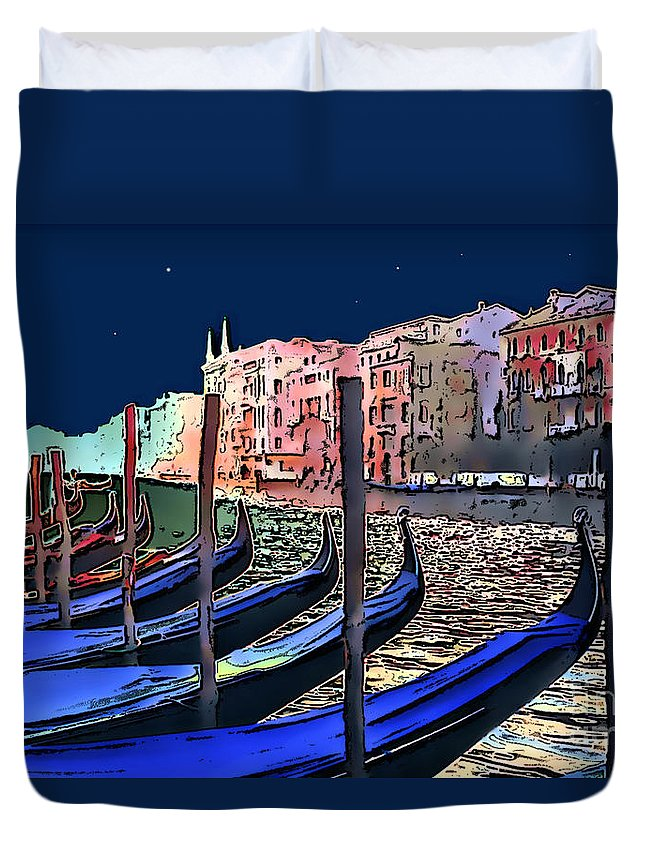 Impressionism Duvet Cover featuring the photograph Night Falls In Venice by Linda Parker