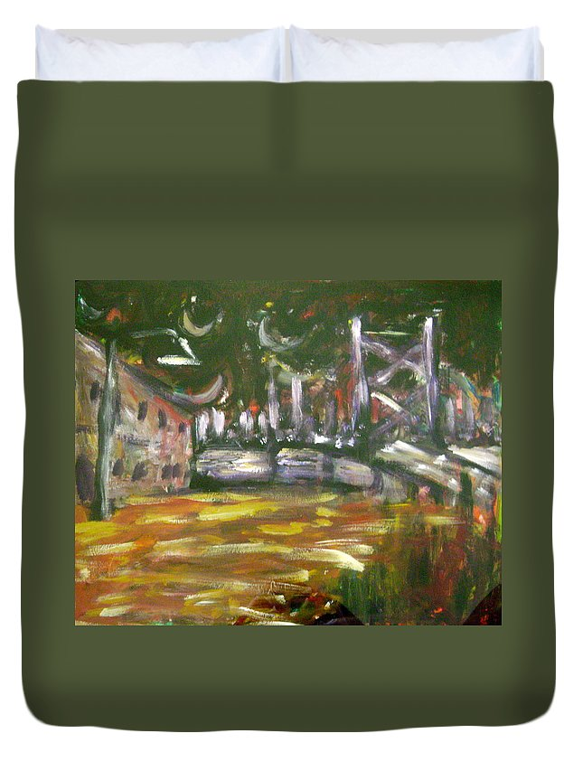 City Duvet Cover featuring the painting Night In The City by Matt Umthun