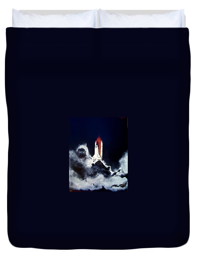 Oil Duvet Cover featuring the painting Night Launch by Murphy Elliott