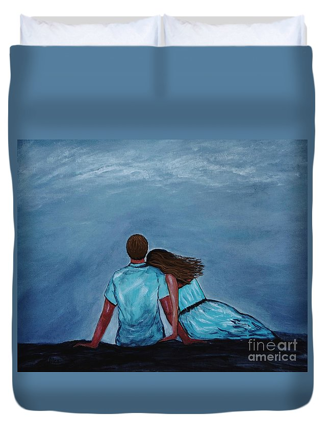 Couple Duvet Cover featuring the painting Night Love by Leslie Allen