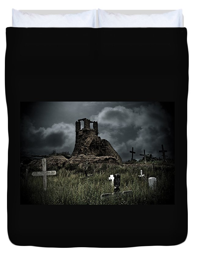 Cemetery Duvet Cover featuring the photograph Night Over Taos Pueblo New Mexico by Christine Till