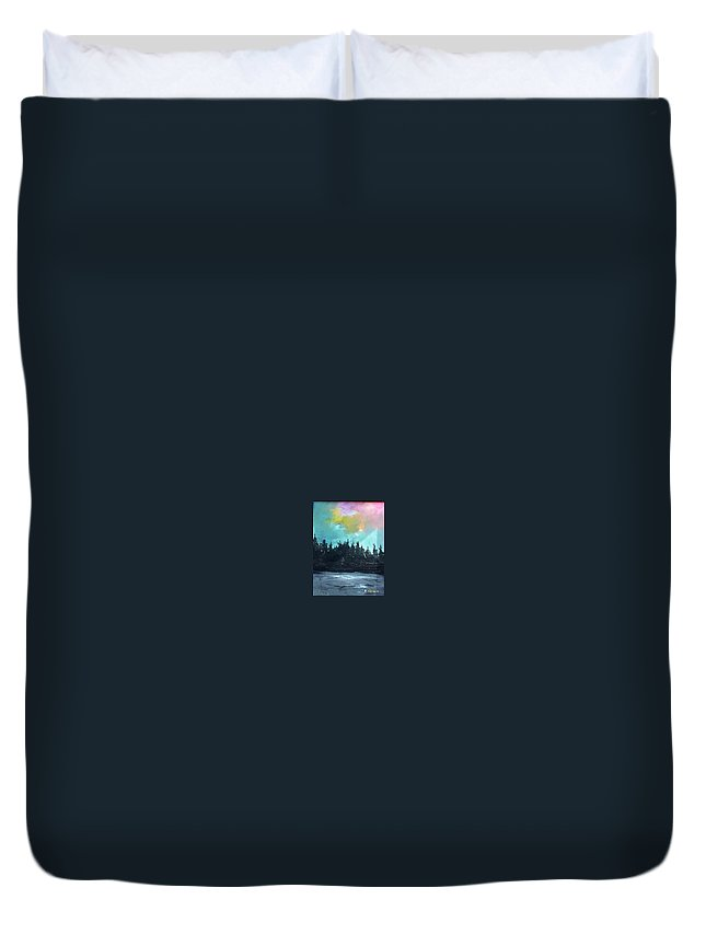 Landscape Duvet Cover featuring the painting Night river by Sergey Bezhinets