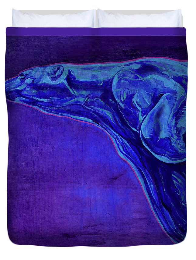 Ursa Major Duvet Cover featuring the painting Night Swimmer by Derrick Higgins