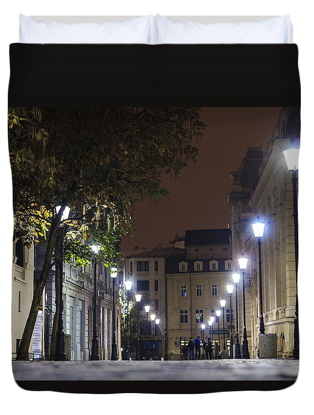Street Duvet Cover featuring the photograph Night Time by Diaconu Daniel
