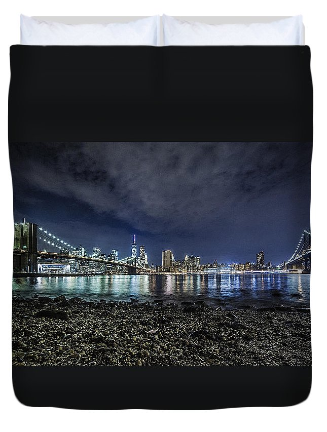 New York Duvet Cover featuring the photograph Night View To Manhattan by Alex Potemkin