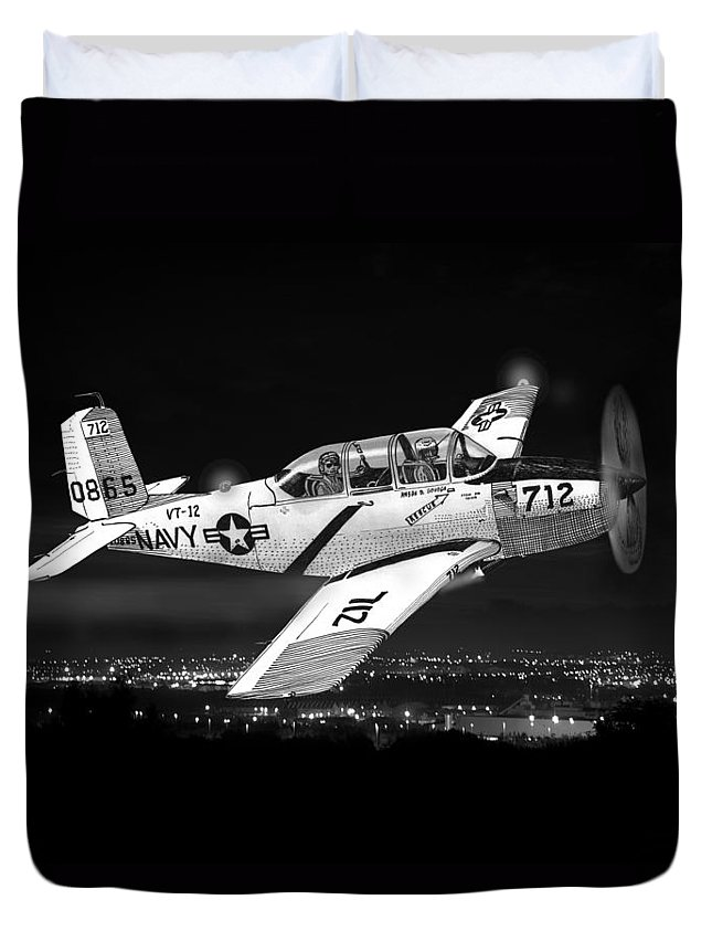 The 1951 Beechcraft T-34 Mentor Is A Propeller Duvet Cover featuring the painting Night Vision Beechcraft T-34 Mentor Military Training Airplane by Jack Pumphrey