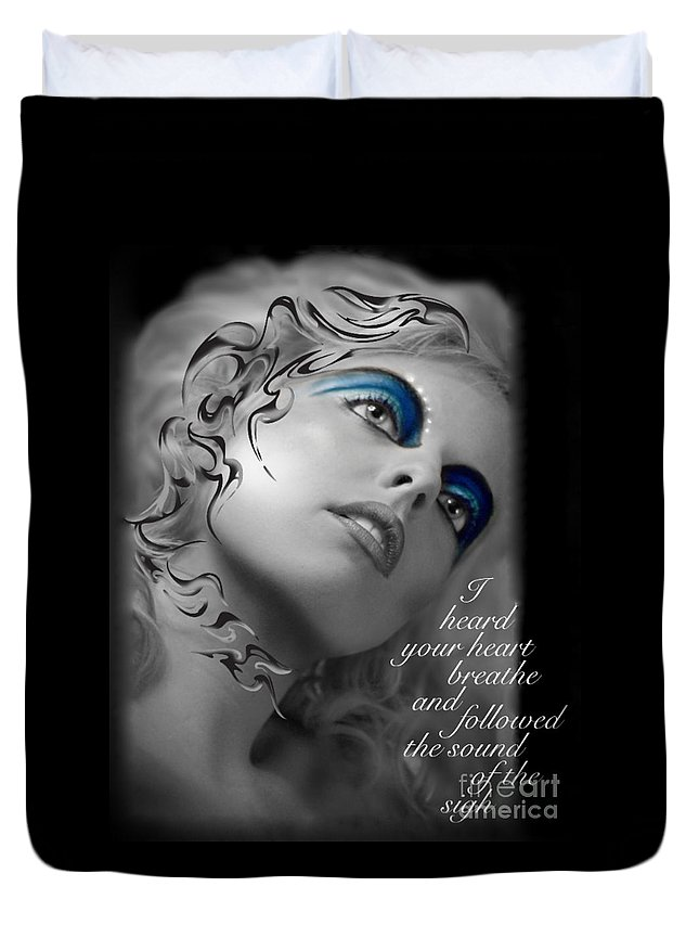 Woman Duvet Cover featuring the photograph Night Vision With Text by Chanel Fernandez