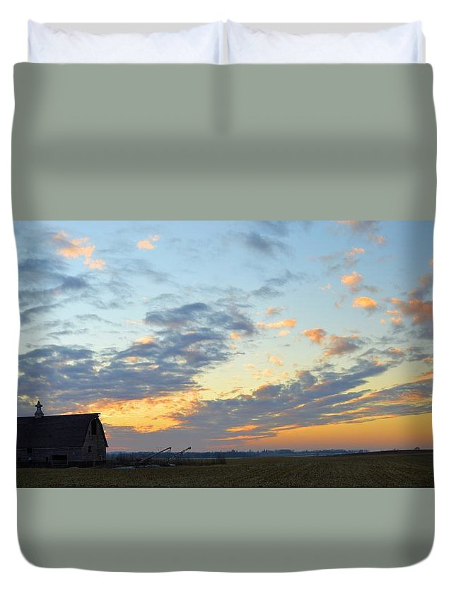 Sunset Duvet Cover featuring the photograph Nightfall by Bonfire Photography