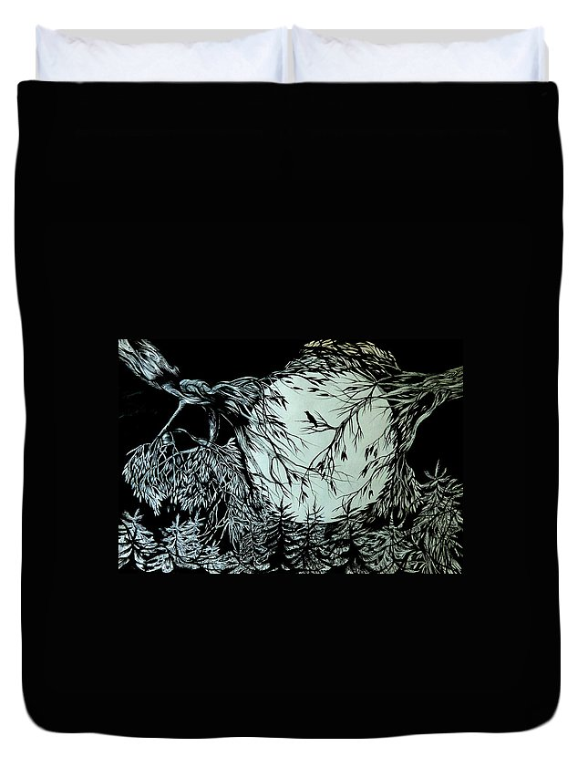 Pen And Ink Duvet Cover featuring the drawing Nightingale Song. Part Three by Anna Duyunova