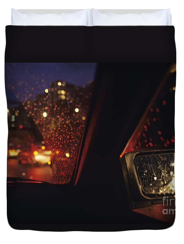 Travel Duvet Cover featuring the photograph Nighttime Driving With City Lights by Jim Corwin