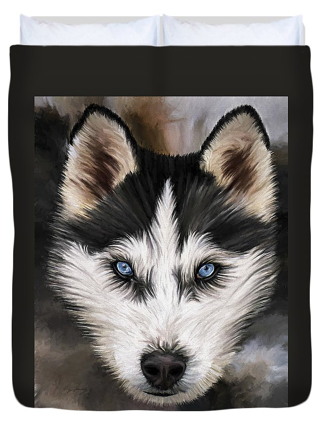 Dog Art Duvet Cover featuring the painting Nikki by David Wagner
