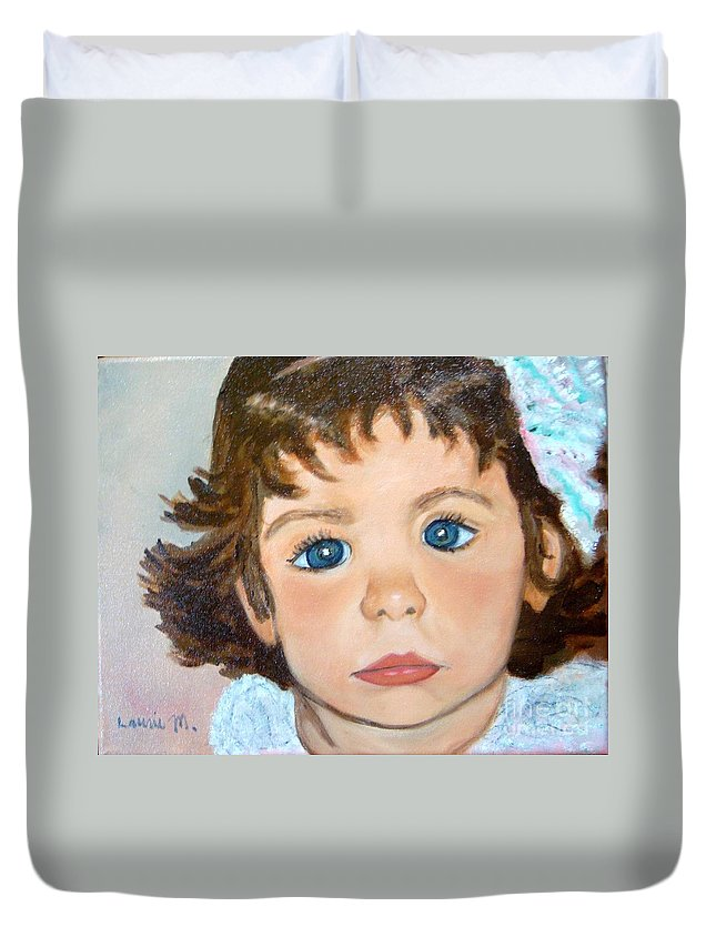 Portrait Duvet Cover featuring the painting Nikki by Laurie Morgan