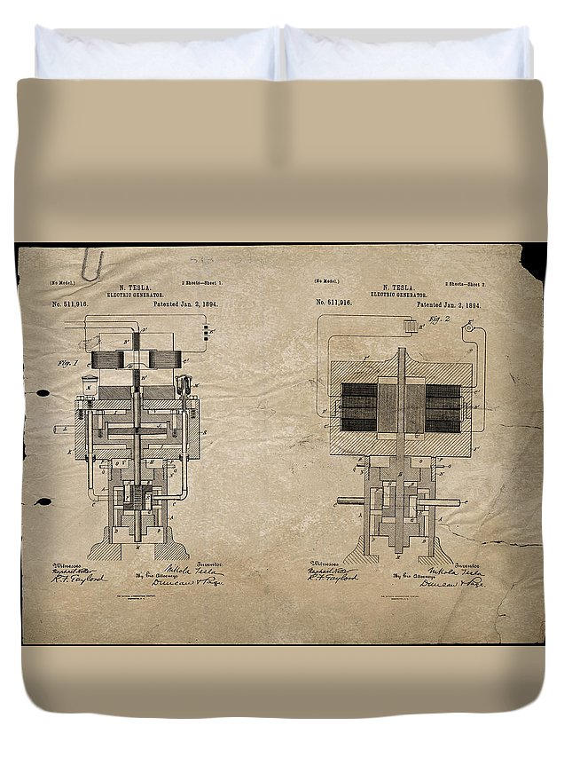 Wright Duvet Cover featuring the digital art Nikola Tesla's Electrical Generator Patent 1894 by Paulette B Wright