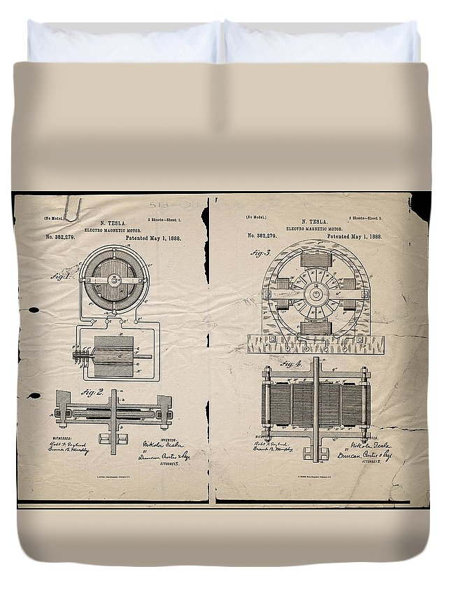 Wright Duvet Cover featuring the digital art Nikola Tesla's Magnetic Motor Patent 1888 by Paulette B Wright