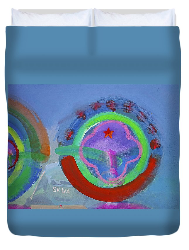 Texas Art Duvet Cover featuring the painting Nine Eleven Image by Charles Stuart