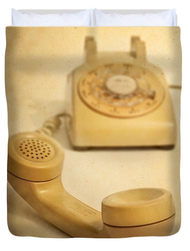 Telephone Duvet Cover featuring the photograph No Cell Phone Here by David and Carol Kelly
