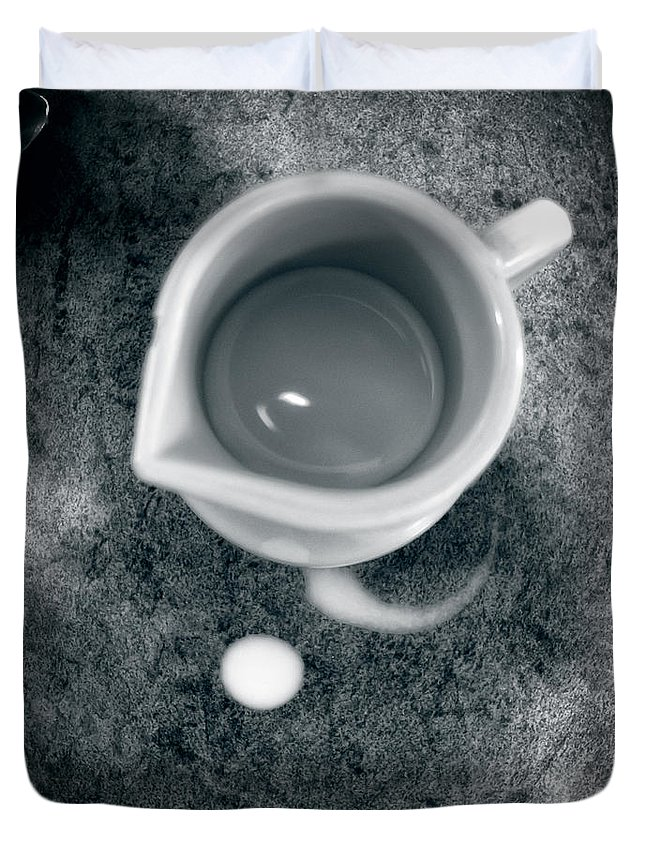 Coffee Duvet Cover featuring the photograph No Cream For My Coffee by Bob Orsillo
