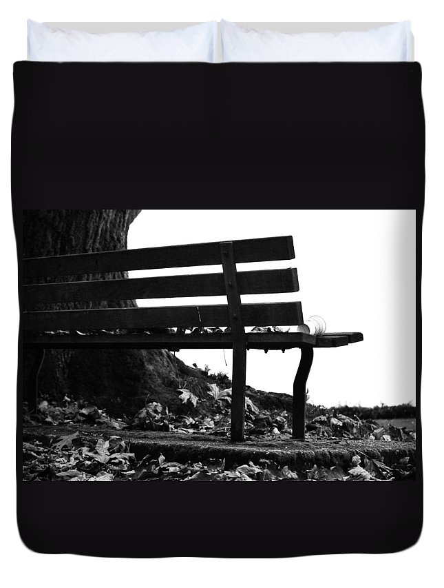 Black And White Duvet Cover featuring the photograph No Date Coffee Break by The Artist Project
