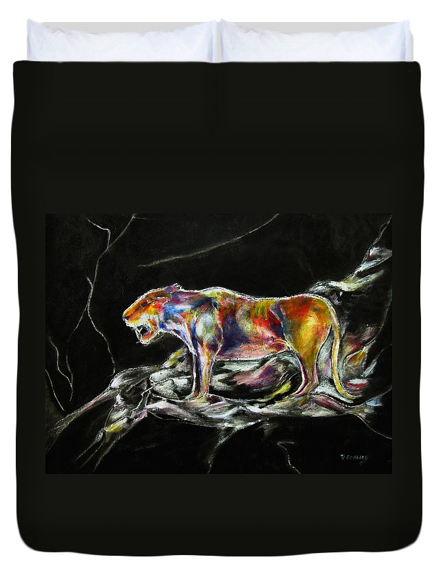 Animals Duvet Cover featuring the painting No Fear by Tom Conway