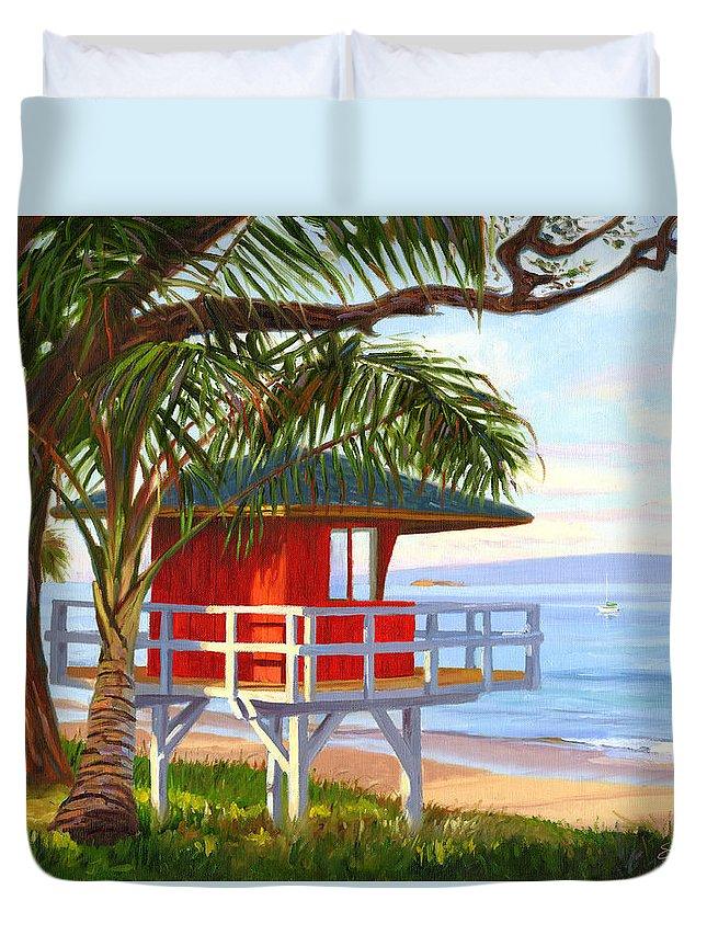Maui Duvet Cover featuring the painting No Guard On Duty - Kamaole Beach by Steve Simon