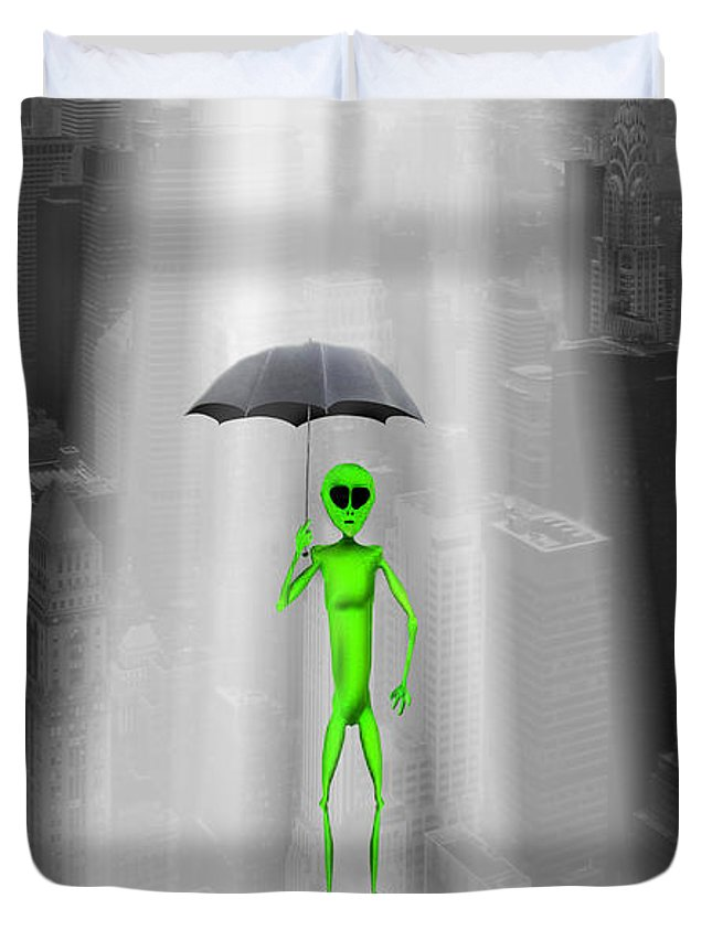 Surrealism Duvet Cover featuring the photograph No Intelligent Life Here by Mike McGlothlen