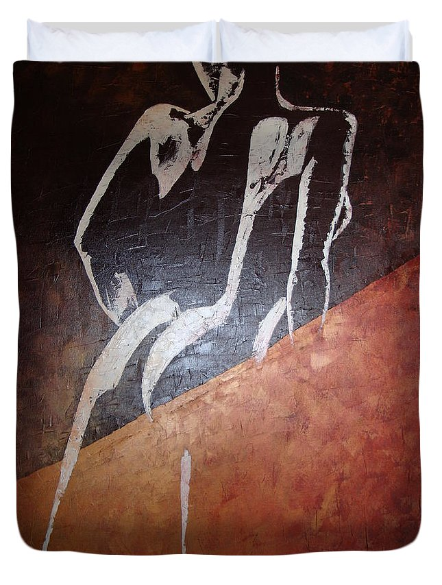 Nude Duvet Cover featuring the painting No Looking Back by Sunel De Lange