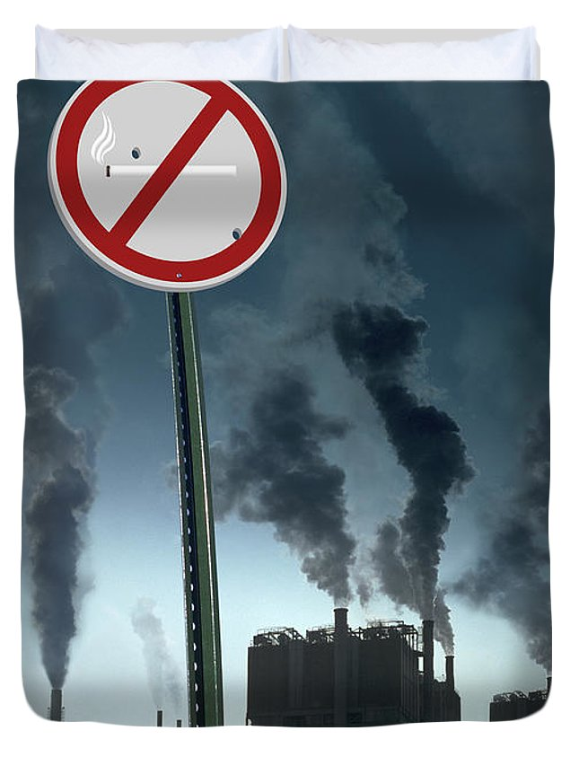 Smog Duvet Cover featuring the photograph No Smoking by Mike McGlothlen