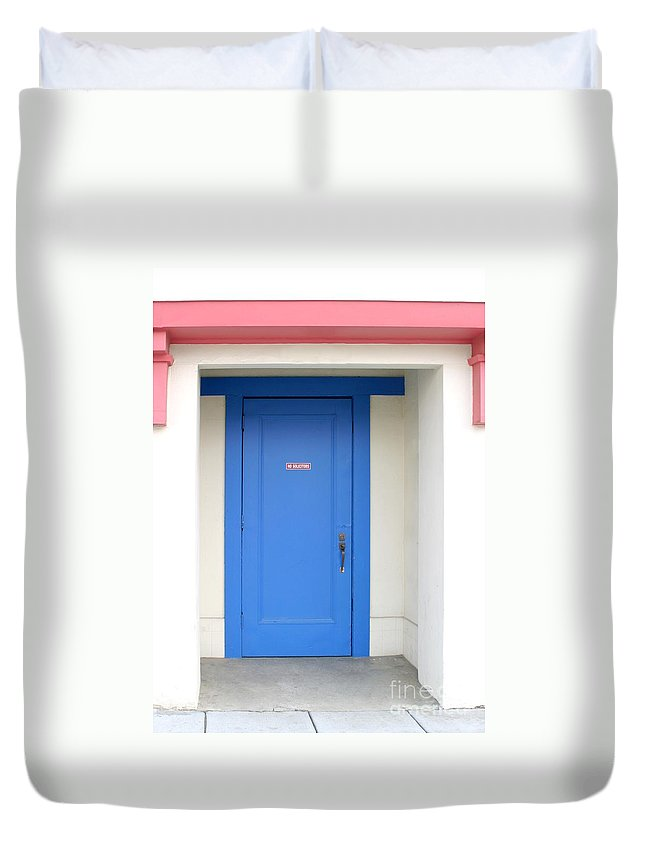Architecture Duvet Cover featuring the photograph No Solicitors by Henrik Lehnerer