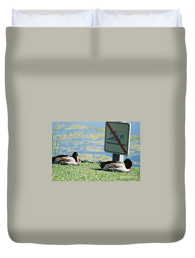 No Duvet Cover featuring the photograph No Swimming by Kerri Mortenson