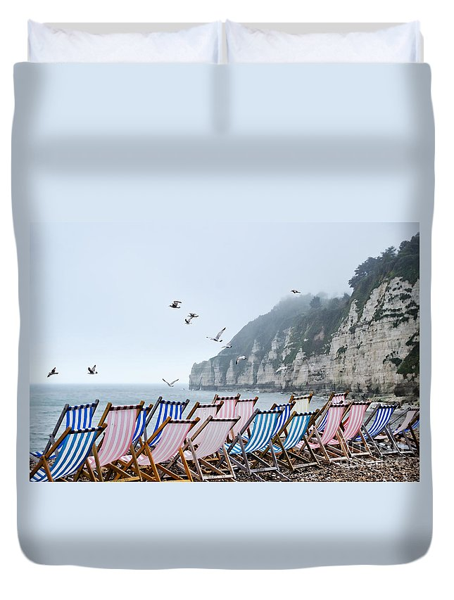 Deckchair Duvet Cover featuring the photograph No Takers Today by Susie Peek