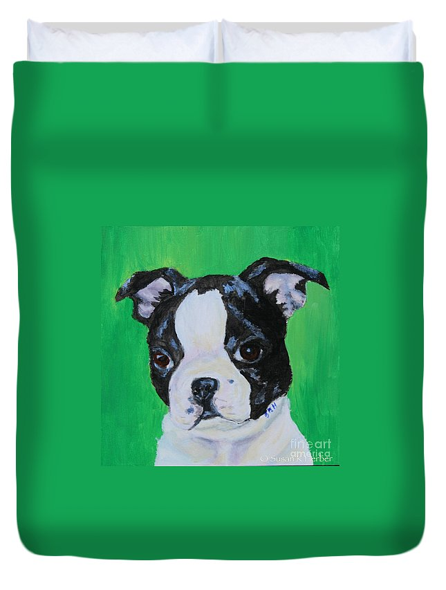 Animal Duvet Cover featuring the painting No Trouble by Susan Herber