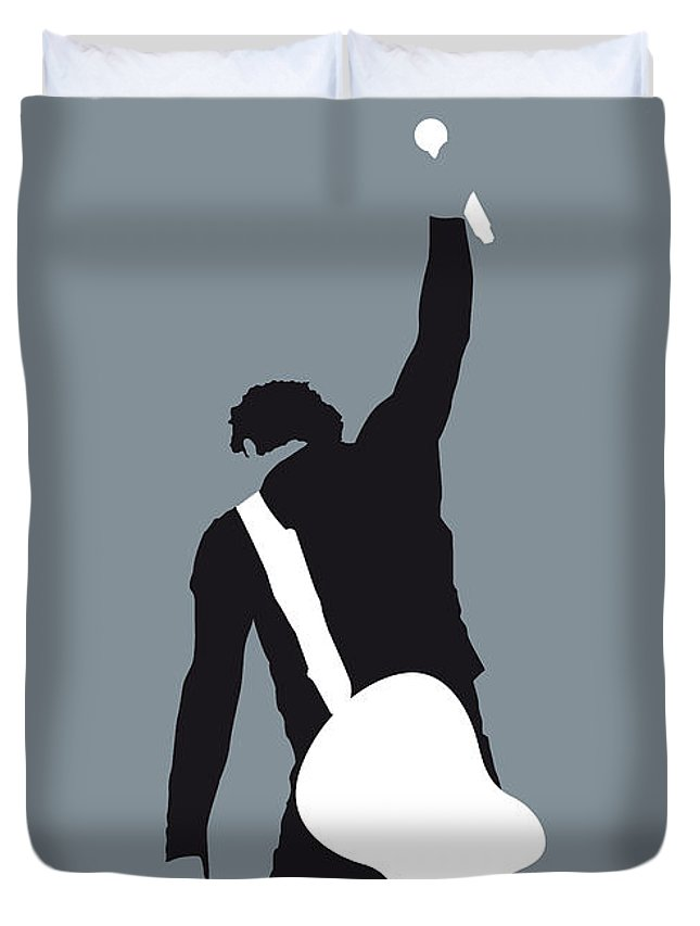 Bruce Duvet Cover featuring the digital art No017 My Bruce Springsteen Minimal Music Poster by Chungkong Art