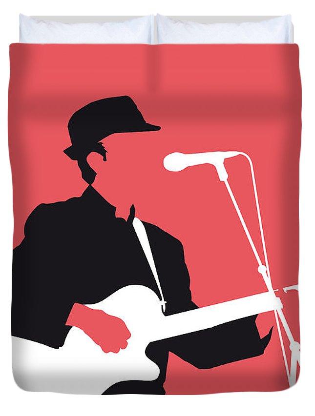 Leonard Duvet Cover featuring the digital art No042 My Leonard Cohen Minimal Music by Chungkong Art