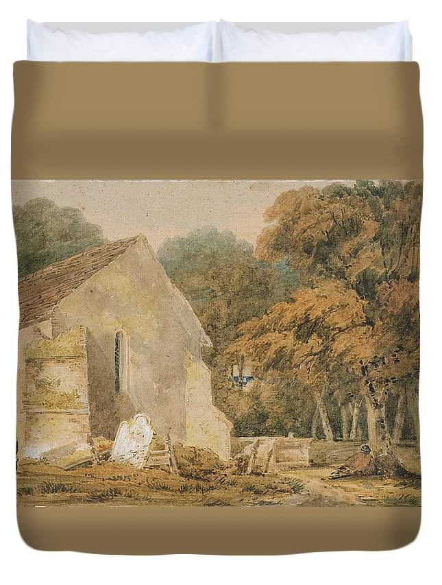 23 3x40 9cm Duvet Cover featuring the painting No.0735 A Country Churchyard, C.1797-98 by Thomas Girtin