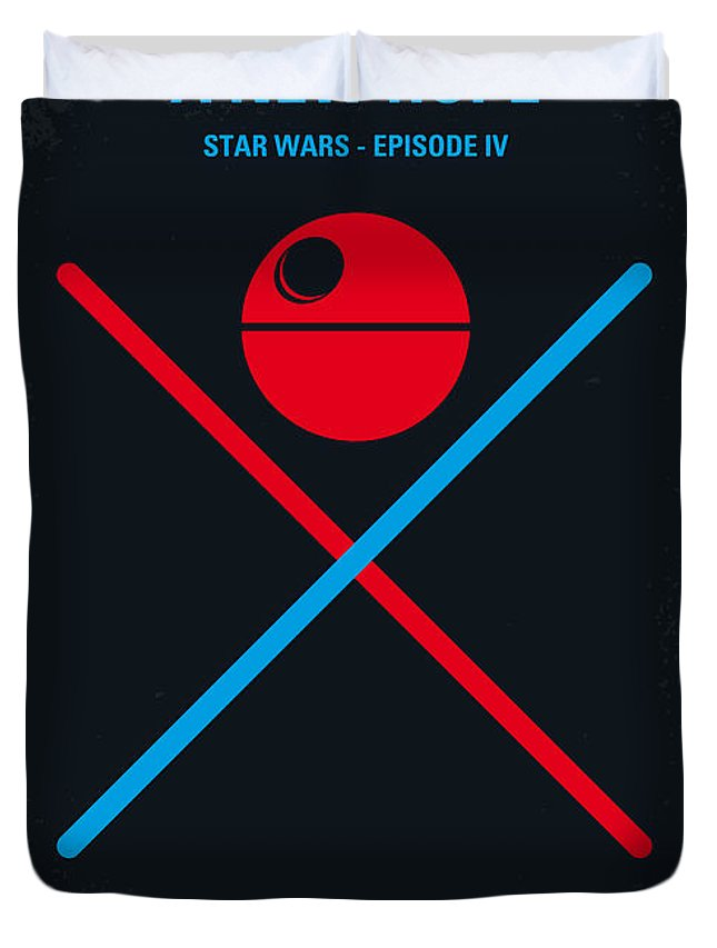 Star Duvet Cover featuring the digital art No154 My STAR WARS Episode IV A New Hope minimal movie poster by Chungkong Art