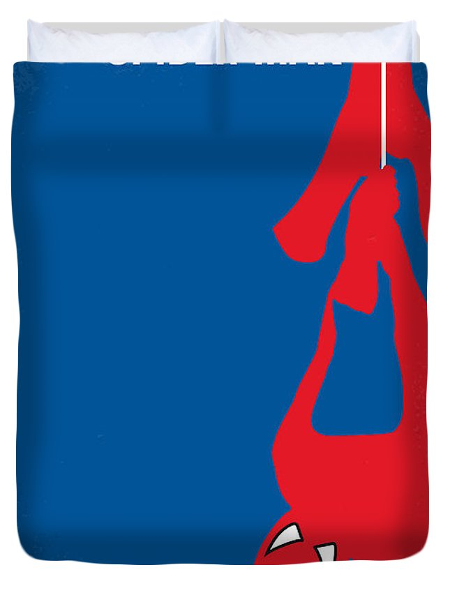 Spider-man Duvet Cover featuring the digital art No201 My Spiderman Minimal Movie Poster by Chungkong Art
