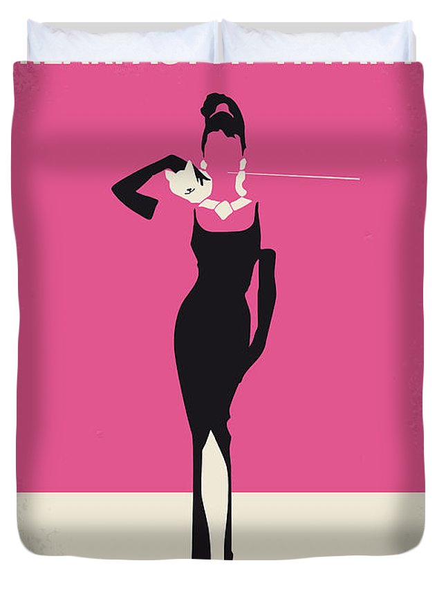 Breakfast Duvet Cover featuring the digital art No204 My Breakfast at Tiffanys minimal movie poster by Chungkong Art