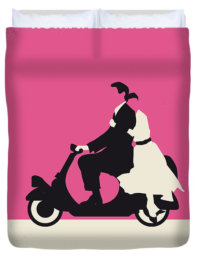 Roman Duvet Cover featuring the digital art No205 My Roman Holiday minimal movie poster by Chungkong Art
